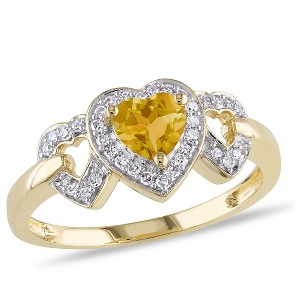 2/5 CT. T.W. Citrine and 1/8 CT. T.W. Diamond Heart Ring in 10K Yellow Gold (GH) (I2:I3) (5), Women