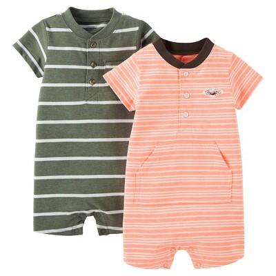 Just One You™ Made by Carter's® Baby Boys' 2pk Stripe Knit Rompers - Olive/Orange 9M