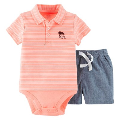 Just One You™ Made by Carter's® Baby Boys' 2pc Set - Orange/Chambray 9M
