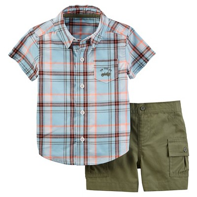 Just One You™ Made by Carter's® Baby Boys' 2pc Plaid Woven Set - Blue/Olive 9M