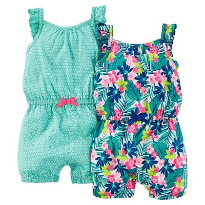 Just One You™ Made by Carter's® Baby Girls' 2pk Tropical Print Rompers - Teal/Blue 9M