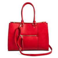 Women's Tote Faux Leather Handbag with Zip Front Pocket - Merona. opens in a new tab.