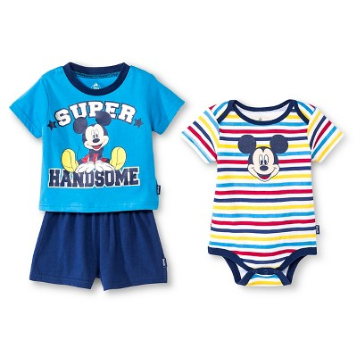 Mickey Mouse Baby Boys' 3 Piece Bodysuit, Top & Shorts Set - 0-3M Blue