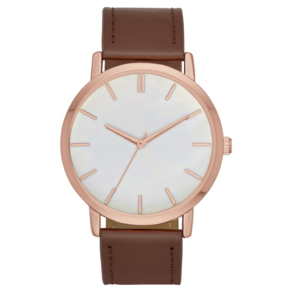 Womens Strap Watch with Mother of Pearl Dial Brown/Rose Gold - Merona
