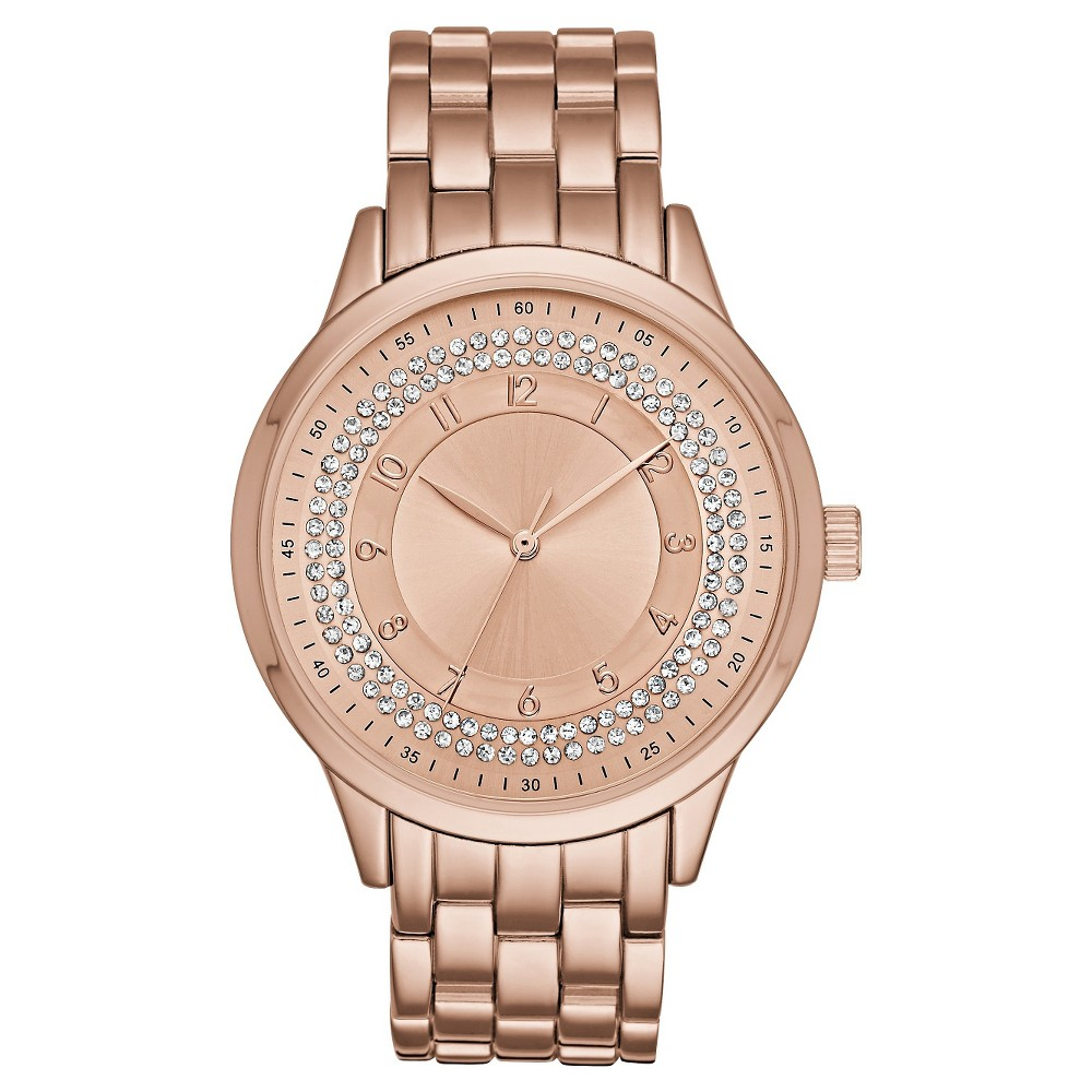 Womens Five Link Bracelet Watch with Glitz Ring Dial Rose Gold - Mossimo