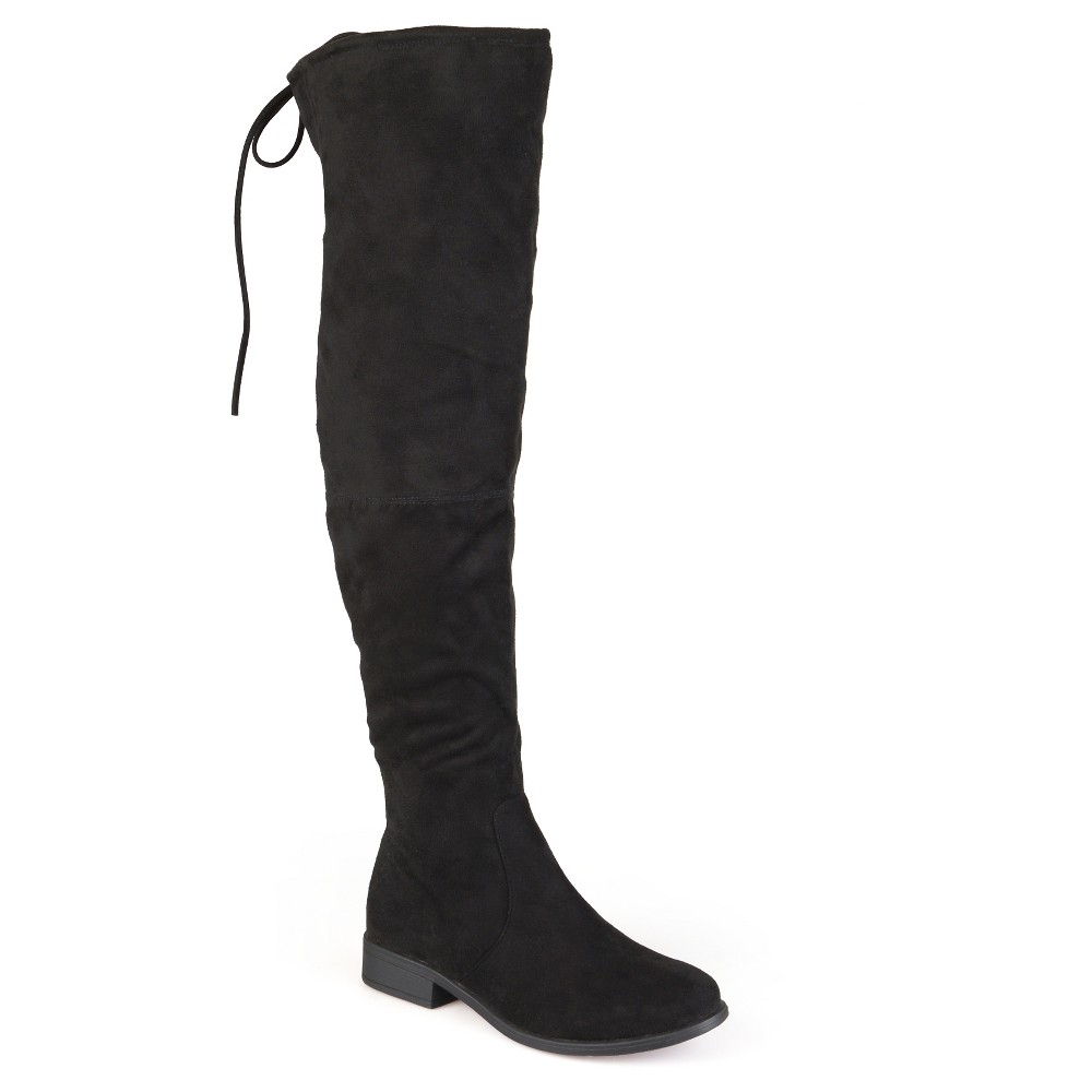 Women's Journee Collection Wide Calf Round Toe Over the Knee Boots - Black 6,  Size: 6 Wide Calf plus size,  plus size fashion plus size appare