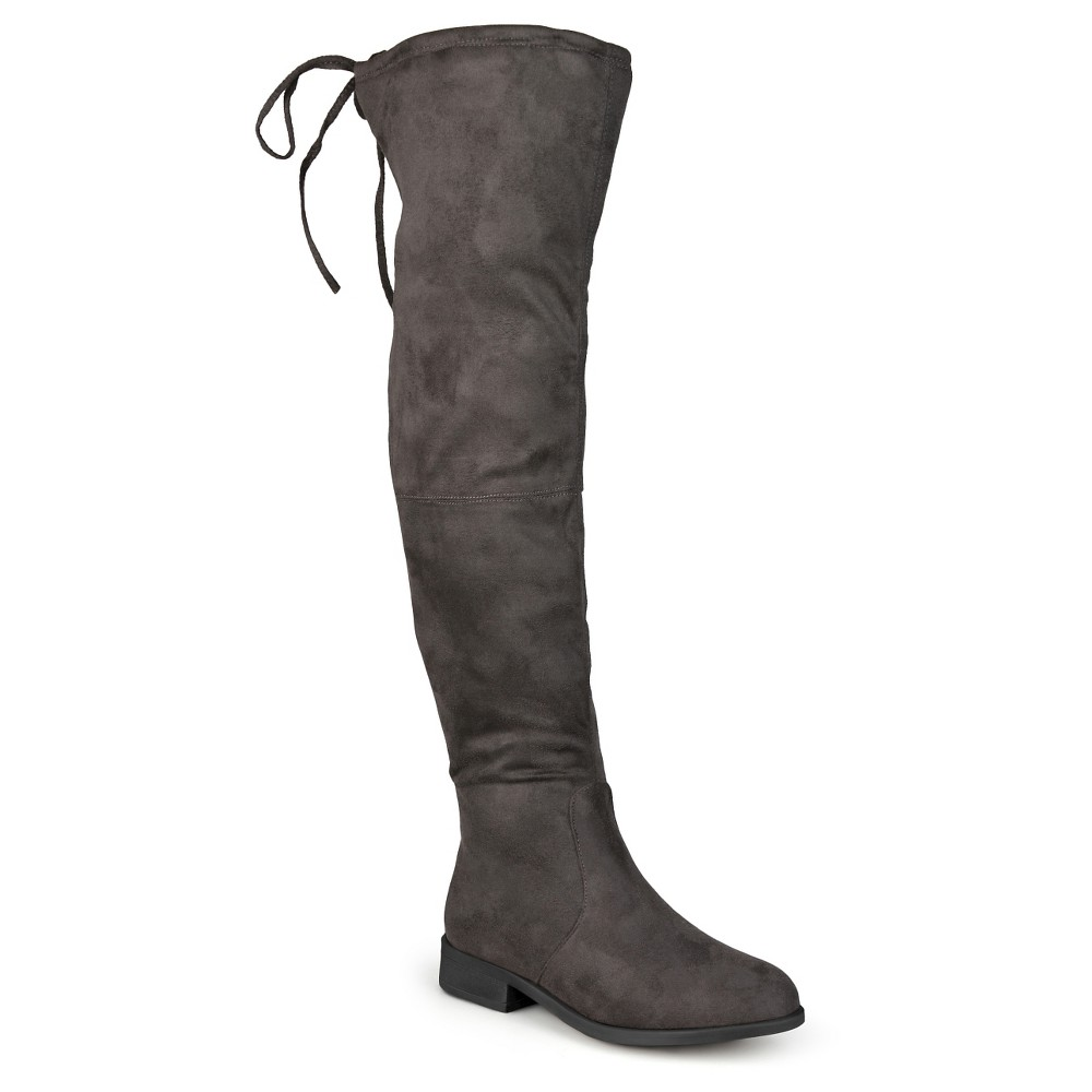 Womens Journee Collection Wide Calf Round Toe Over the Knee Boots - Gray 7.5, Size: 7.5 Wide Calf