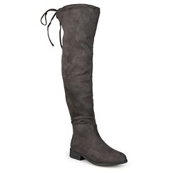 Women's Journee Collection Wide Calf Round Toe Over the Knee Boots - Gray 7.5