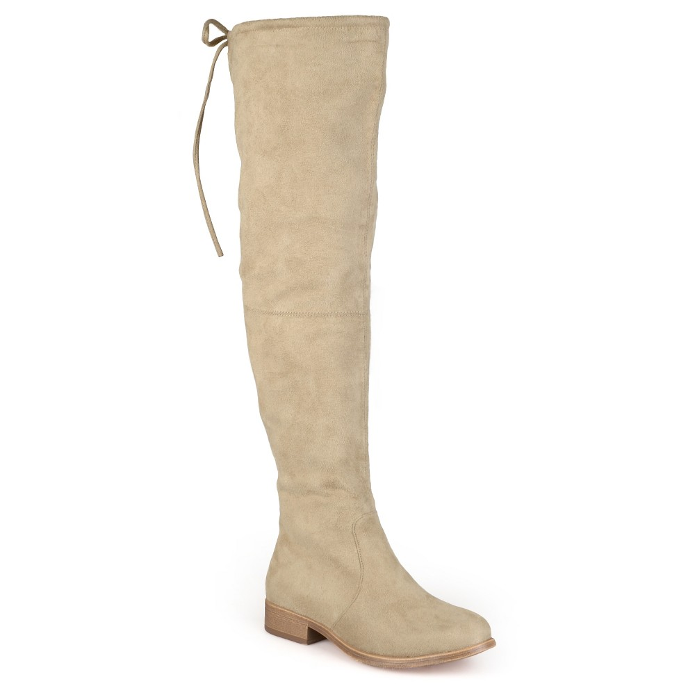 Womens Journee Collection Wide Calf Round Toe Over the Knee Boots - Taupe 6, Size: 6 Wide Calf, Taupe Brown
