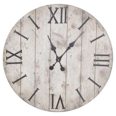 24  Wall Clock White Washed Wood Finish - Threshold™