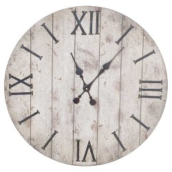 "24"" Wall Clock White Washed Wood Finish - Threshold™"