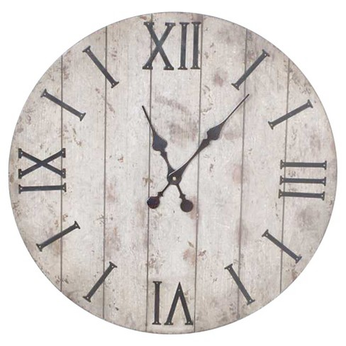 24 Quot Wall Clock White Washed Wood Finish Threshold Target