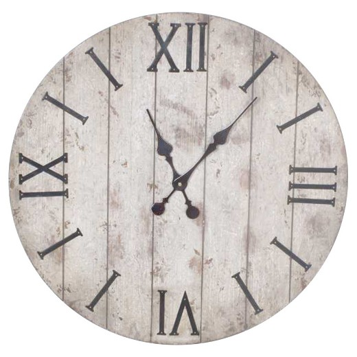 Target Wall Decor Clock : Quot wall clock white washed wood finish threshold target