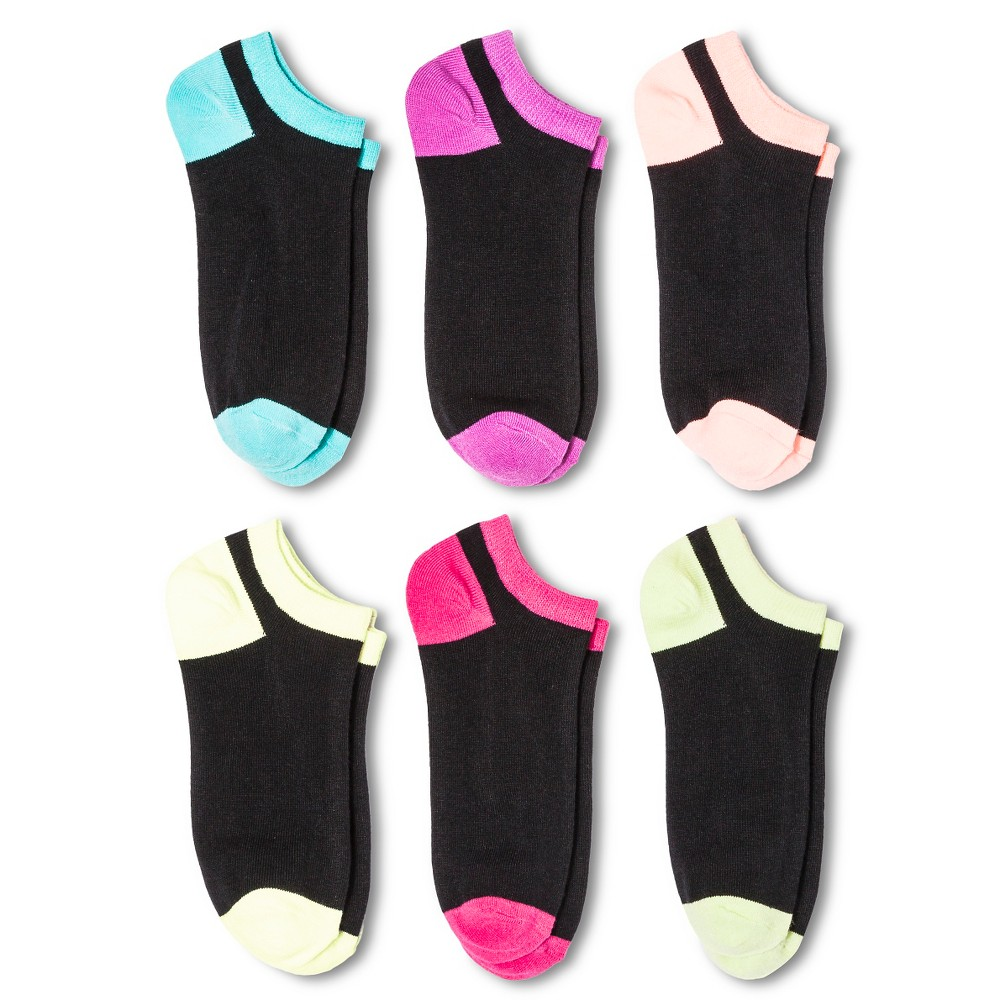 Womens 6pk Low-Cut Multi Color Toe & Heel - Xhilaration Black 4-10