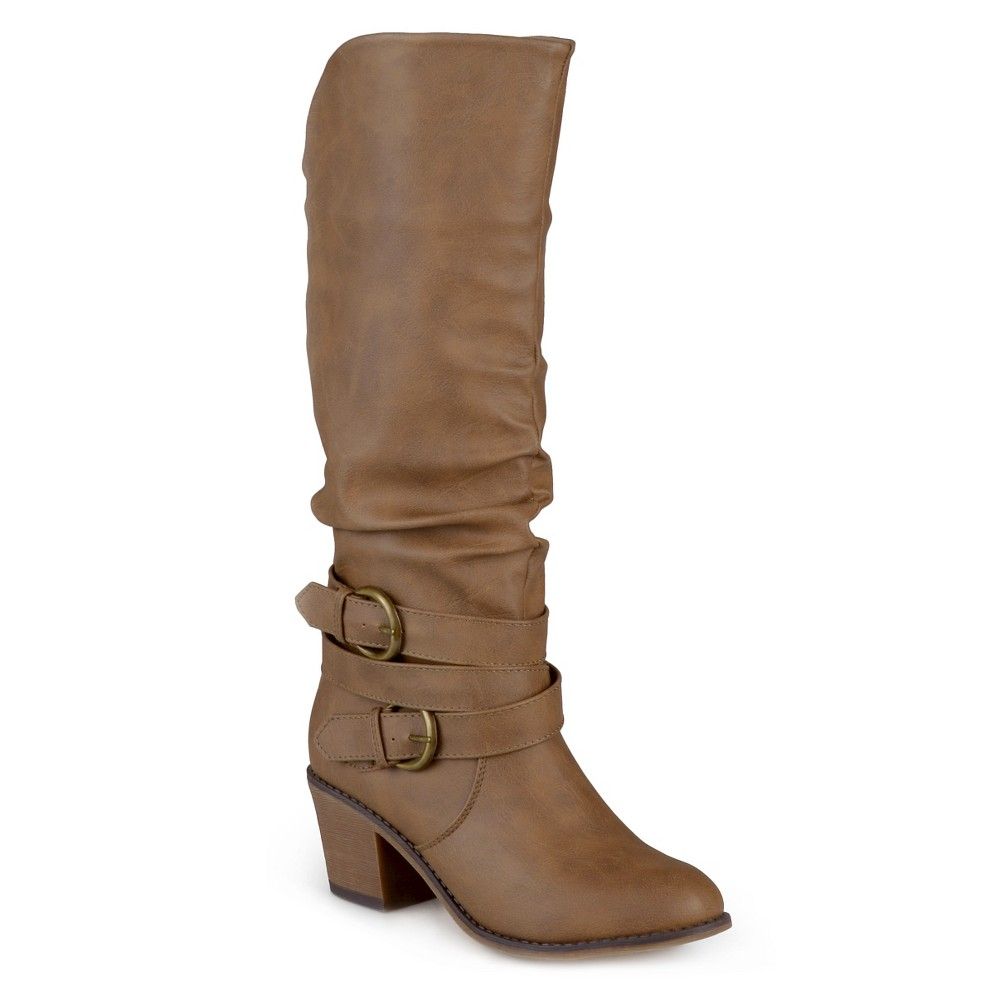 Womens Journee Collection Wide Calf Fashion Boots - Taupe 10W, Size: 10 Wide Calf, Taupe Brown