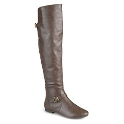 Women's Journee Collection Tall Riding Boots - Taupe 8.5