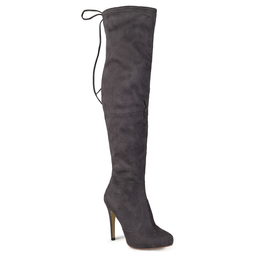 Women's Journee Collection Wide Calf Fashion Boots - Gray 8W, Size: 8 Wide Calf
