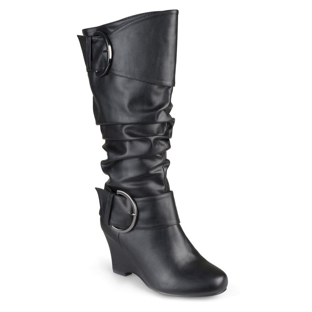 Womens Journee Collection Wide Calf Fashion Boots - Black 7W, Size: 7 Wide Calf