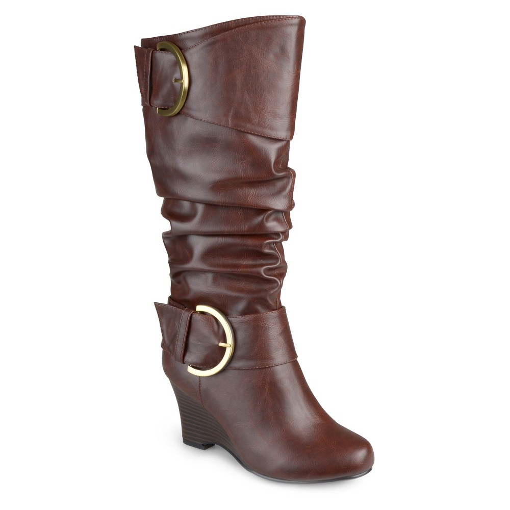 Womens Journee Collection Wide Calf Fashion Boots - Brown 8W, Size: 8 Wide Calf