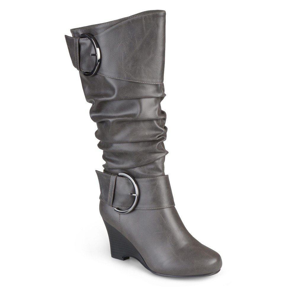 Womens Journee Collection Wide Calf Fashion Boots - Gray 8W, Size: 8 Wide Calf