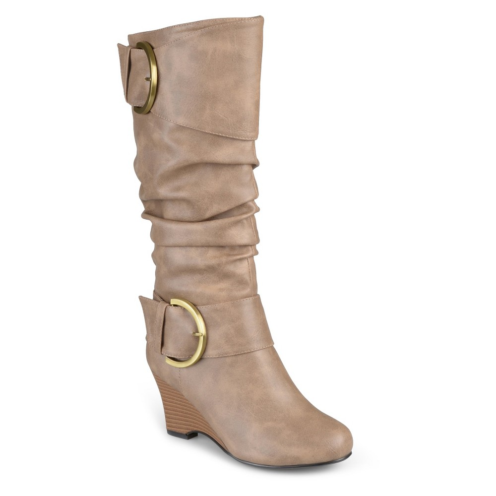 Women's Journee Collection Wide Calf Fashion Boots - Taupe 7W, Size: 7 Wide Calf, Taupe Brown