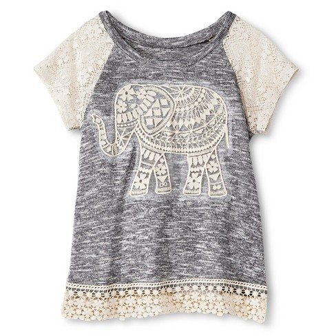 Miss Chievous Girls' Top with Elephant and Crochet Sleeve and Hem - Gray - image 1 of 1