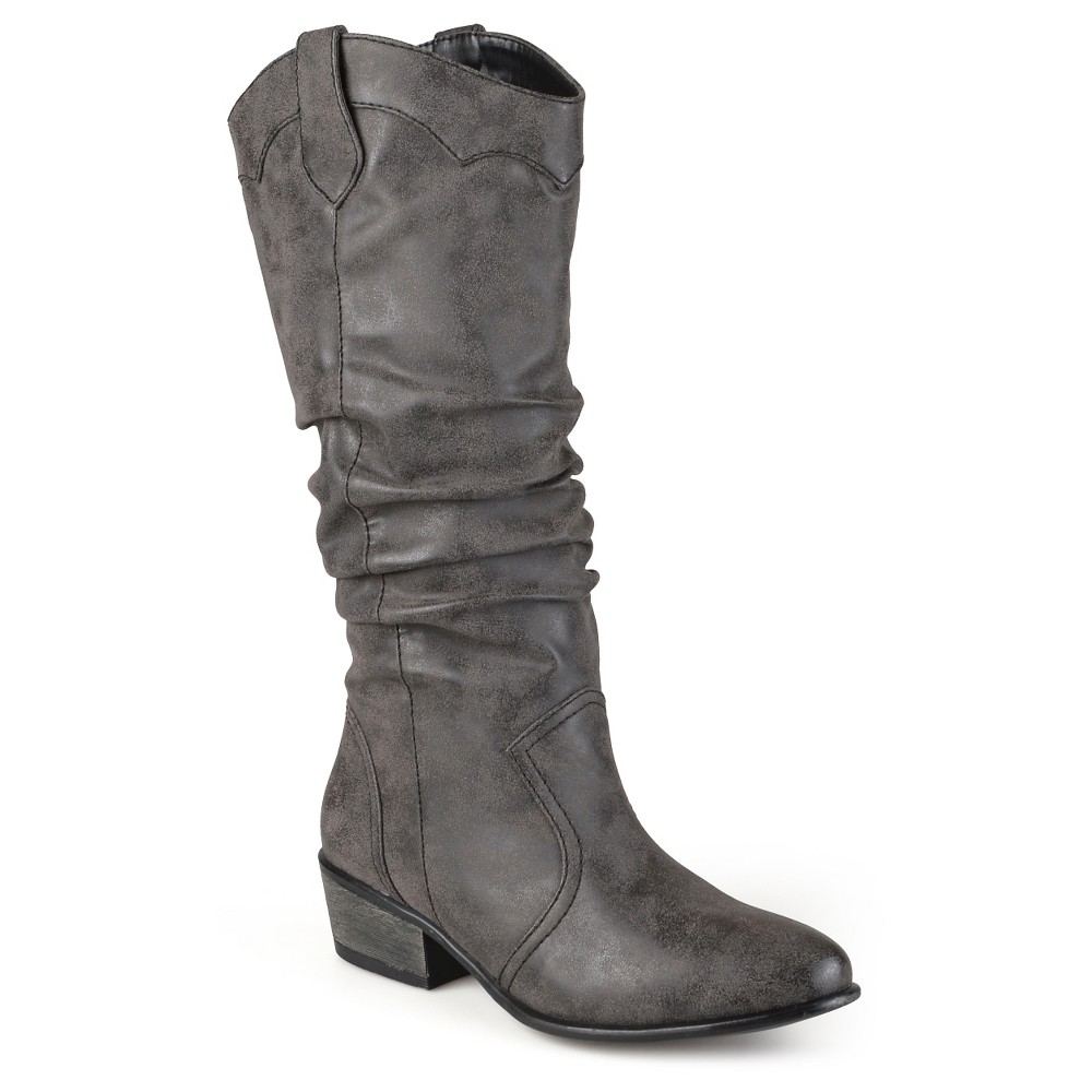 Women's Journee Collection Wide Calf Round Toe Slouch Western Boots - Black 8,  Size: 8 wide calf plus size,  plus size fashion plus size appare