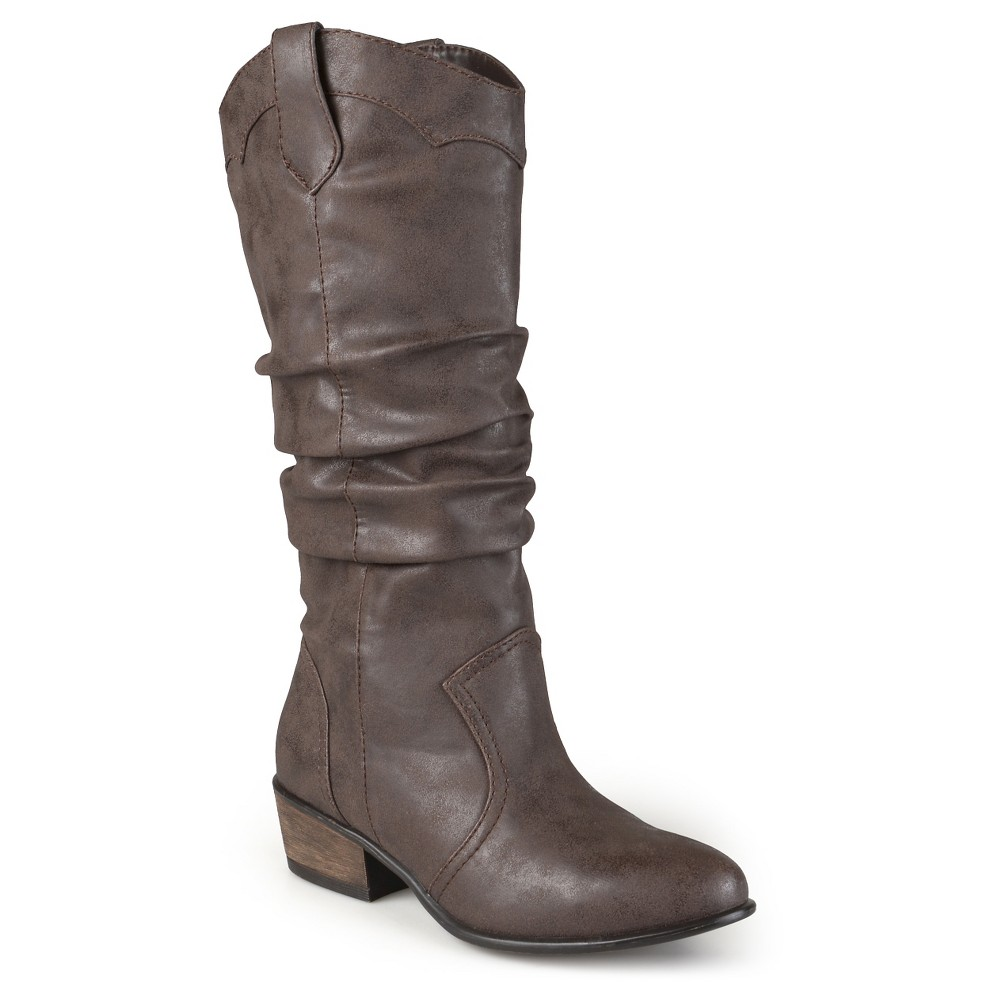Womens Journee Collection Wide Calf Round Toe Slouch Western Boots - Brown 10, Size: 10 wide calf