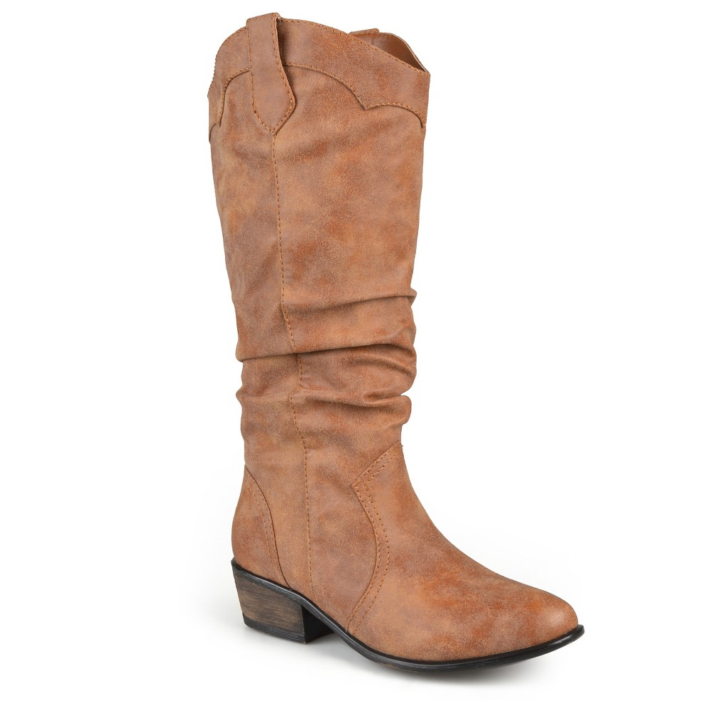 Womens Journee Collection Wide Calf Round Toe Slouch Western Boots - Chestnut 7, Size: 7 wide calf, Dark Chestnut