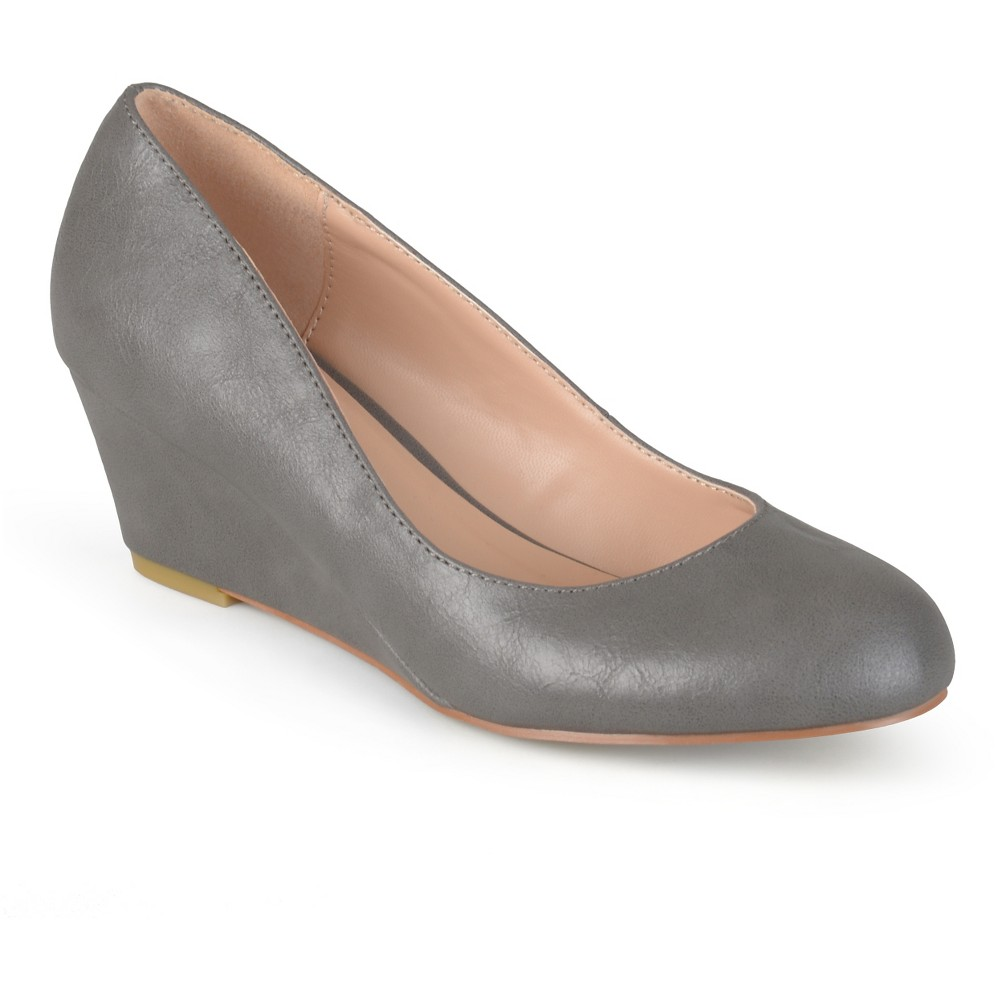 Womens Journee Collection Round Toe Classic Wedges - Gray 7.5