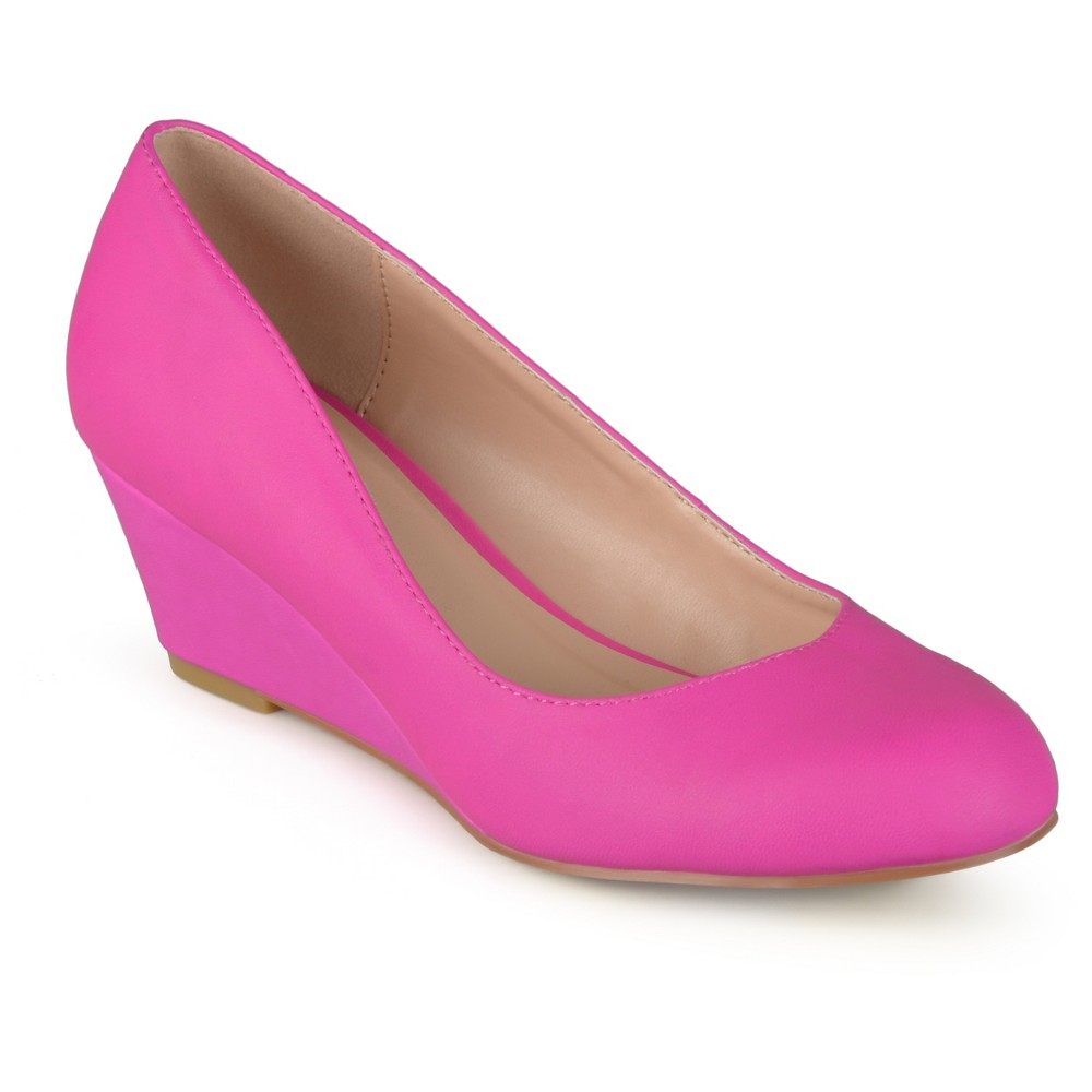 Womens Journee Collection Round Toe Classic Wedges - Hot Pink 7