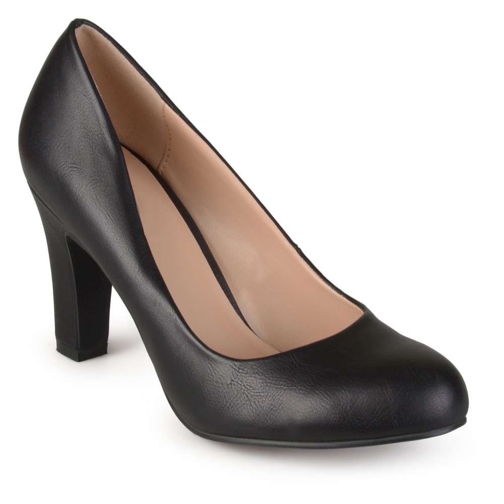 Womens Journee Collection Round Toe Matte Chunky Heel Pumps - Black 7