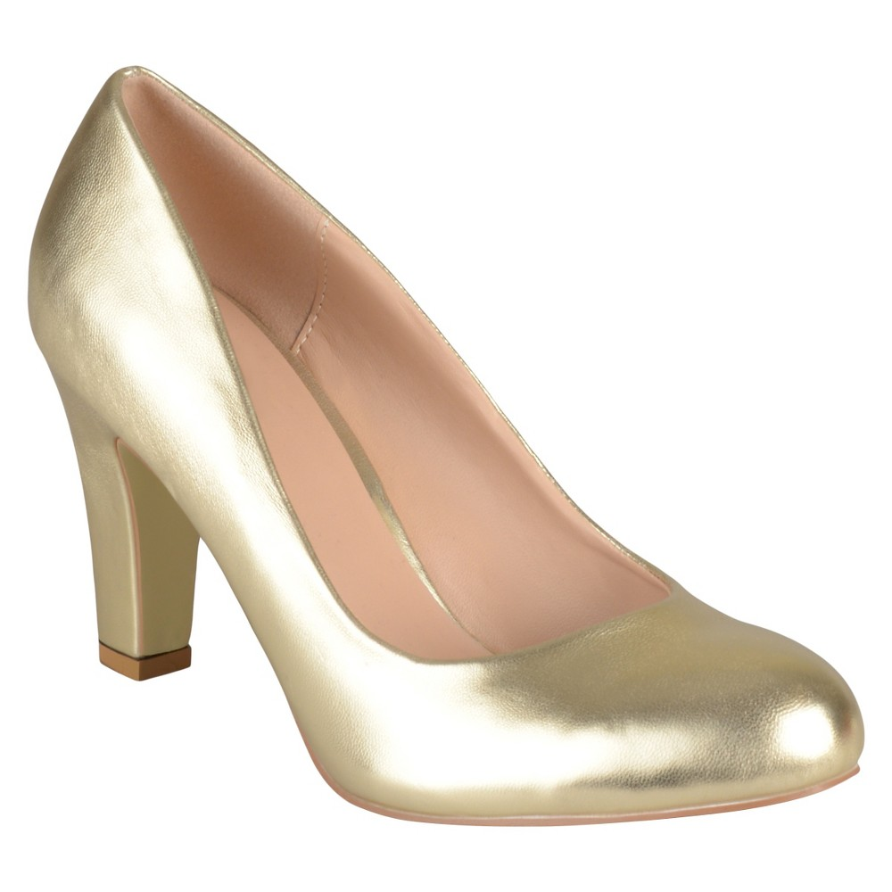 Womens Journee Collection Round Toe Matte Chunky Heel Pumps - Gold 7.5