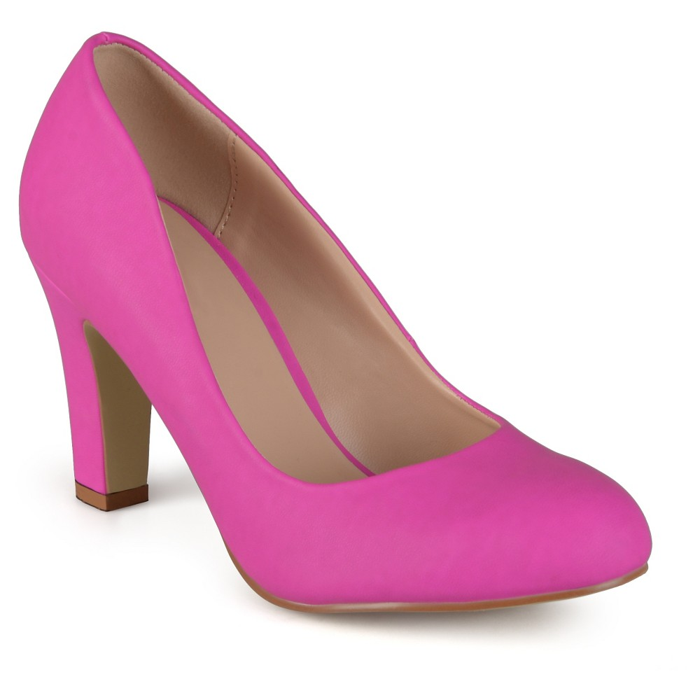 Women's Journee Collection Round Toe Matte Chunky Heel Pumps - Pink 6