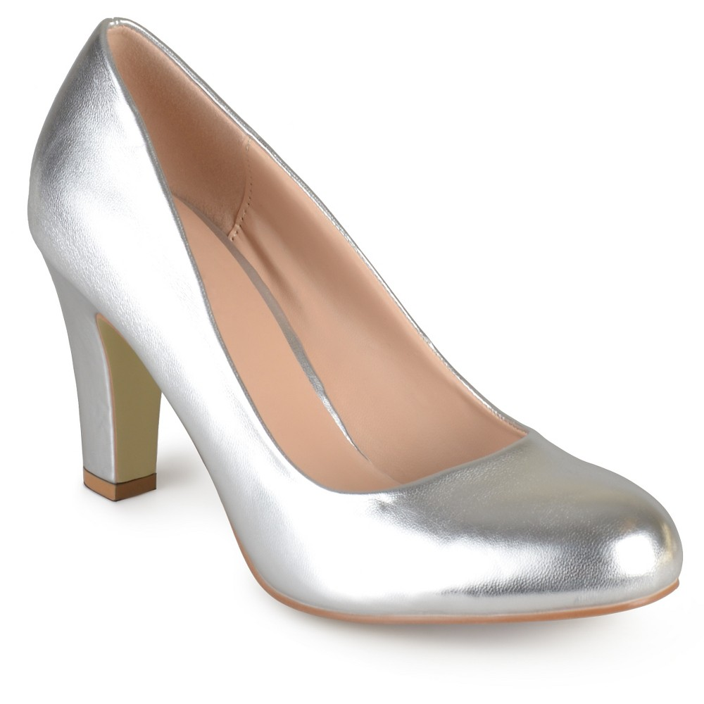 Womens Journee Collection Round Toe Matte Chunky Heel Pumps - Silver 7