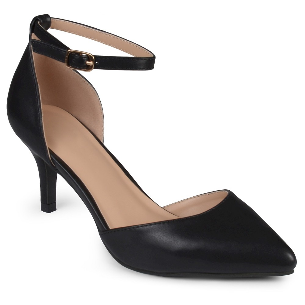 Womens Journee Collection Pointed Toe Matte Ankle Strap Kitten Heel Pumps - Black 7