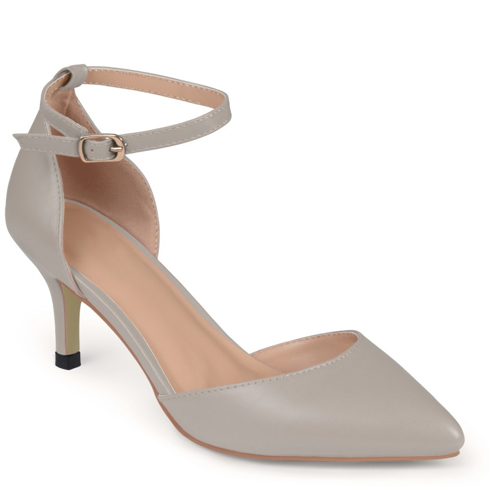 Womens Journee Collection Pointed Toe Matte Ankle Strap Kitten Heel Pumps - Gray 6