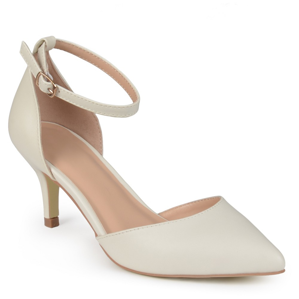 Womens Journee Collection Pointed Toe Matte Ankle Strap Kitten Heel Pumps - Ivory 6