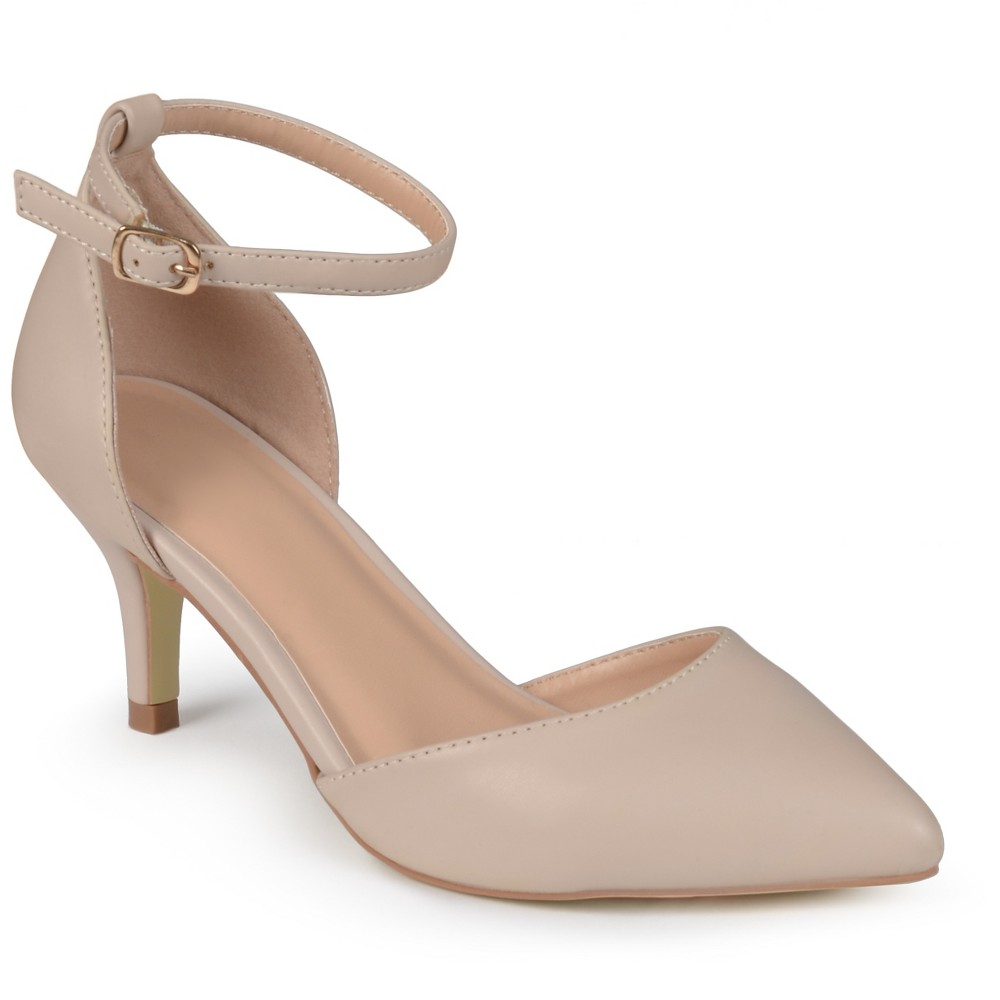 Womens Journee Collection Pointed Toe Matte Ankle Strap Kitten Heel Pumps - Nude 7.5