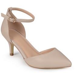 Women's Journee Collection Pointed Toe Matte Ankle Strap Kitten Heel Pumps - Nude 9