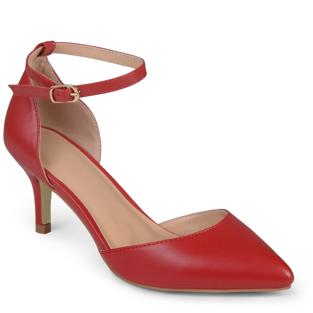 Womens Journee Collection Pointed Toe Matte Ankle Strap Kitten Heel Pumps - Red 7
