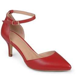 Women's Journee Collection Pointed Toe Matte Ankle Strap Kitten Heel Pumps - Red 8.5