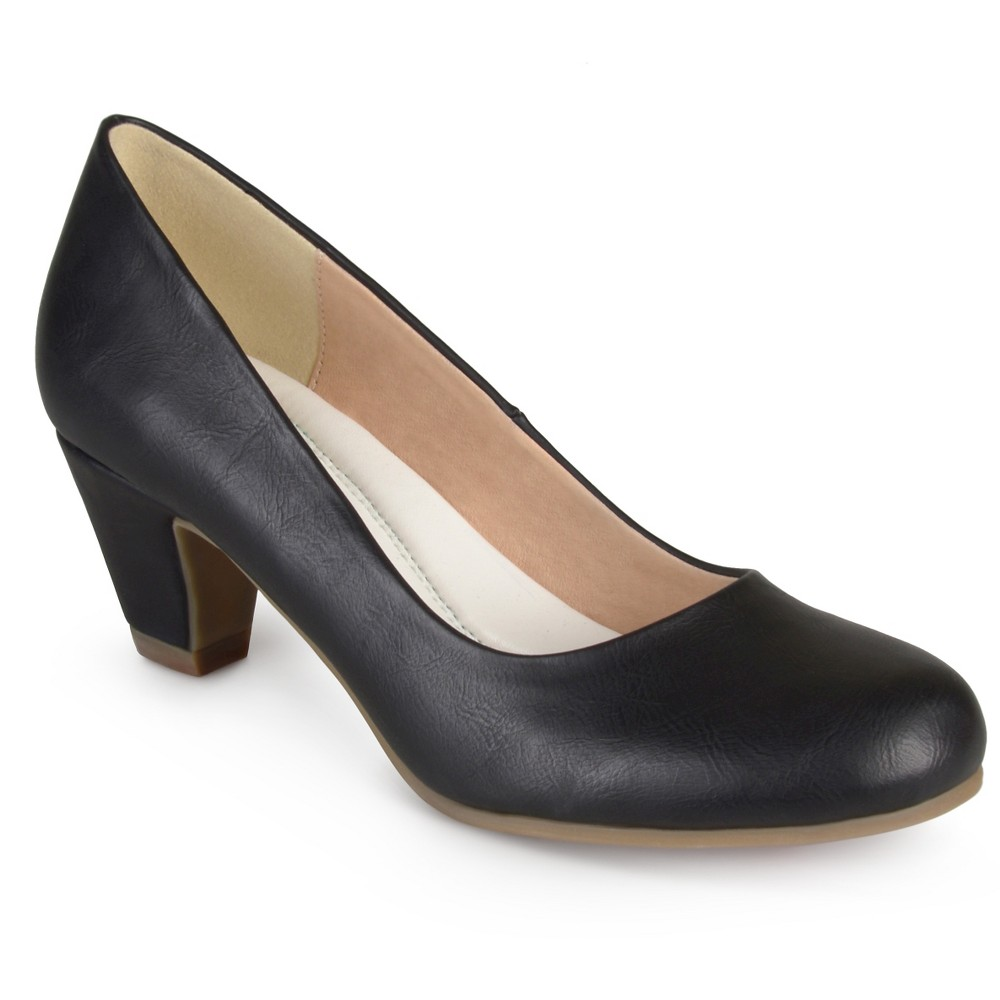 Womens Journee Collection Round Toe Comfort Fit Classic Kitten Heel Pumps - Black 6