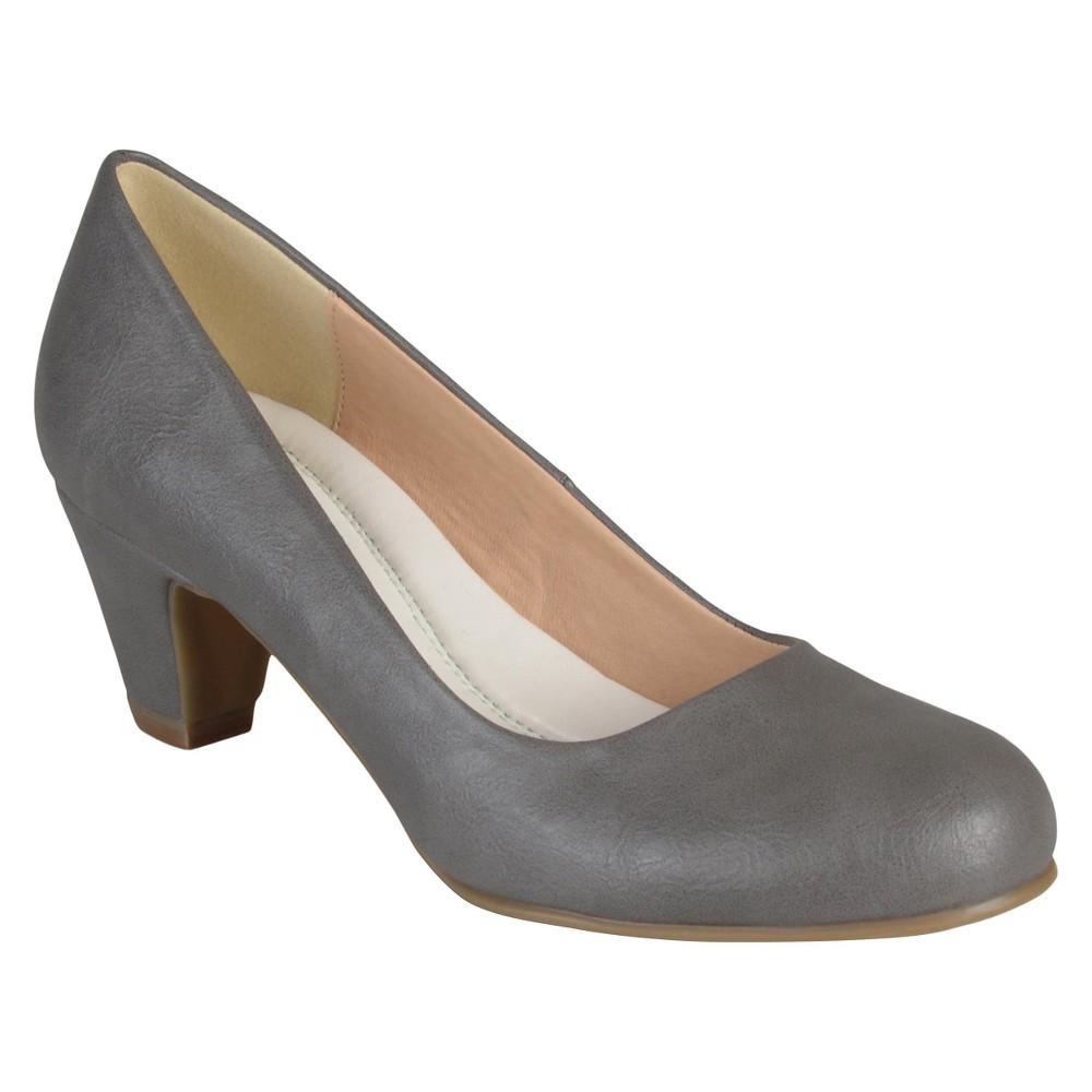 Womens Journee Collection Round Toe Comfort Fit Classic Kitten Heel Pumps - Gray 6.5