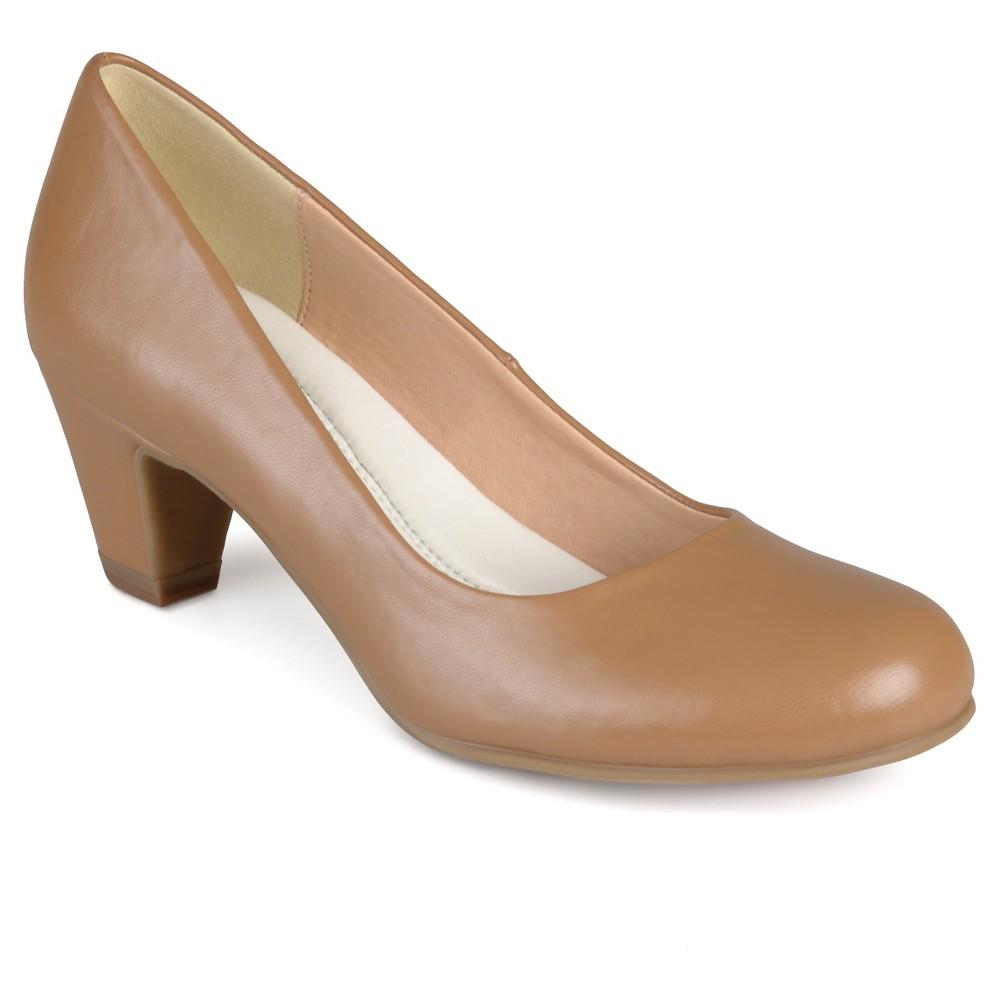Womens Journee Collection Round Toe Comfort Fit Classic Kitten Heel Pumps - Chestnut 7.5, Dark Chestnut