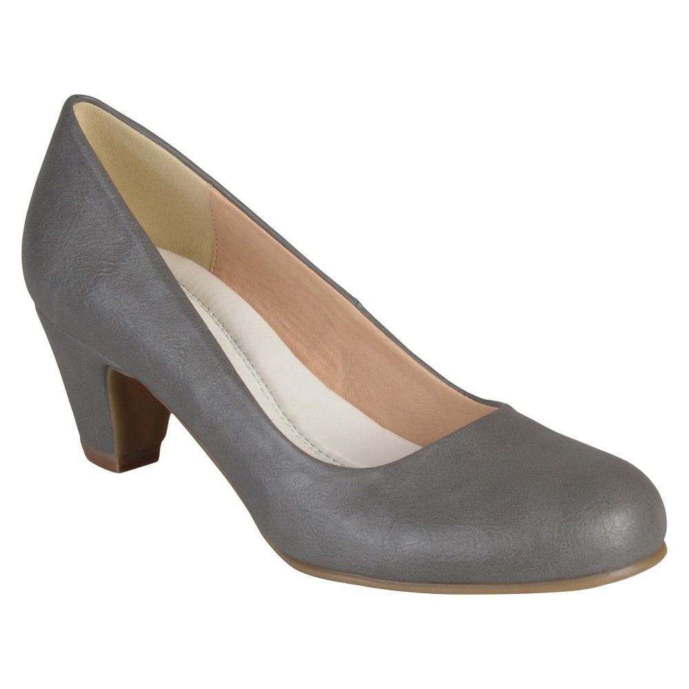 Womens Journee Collection Round Toe Comfort Fit Classic Kitten Heel Pumps - Gray 6