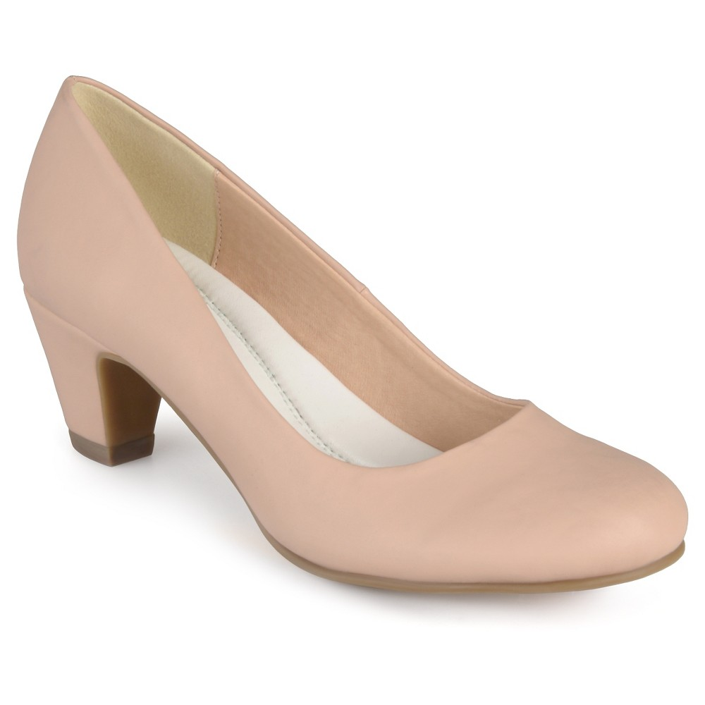 Womens Journee Collection Round Toe Comfort Fit Classic Kitten Heel Pumps - Nude 7.5