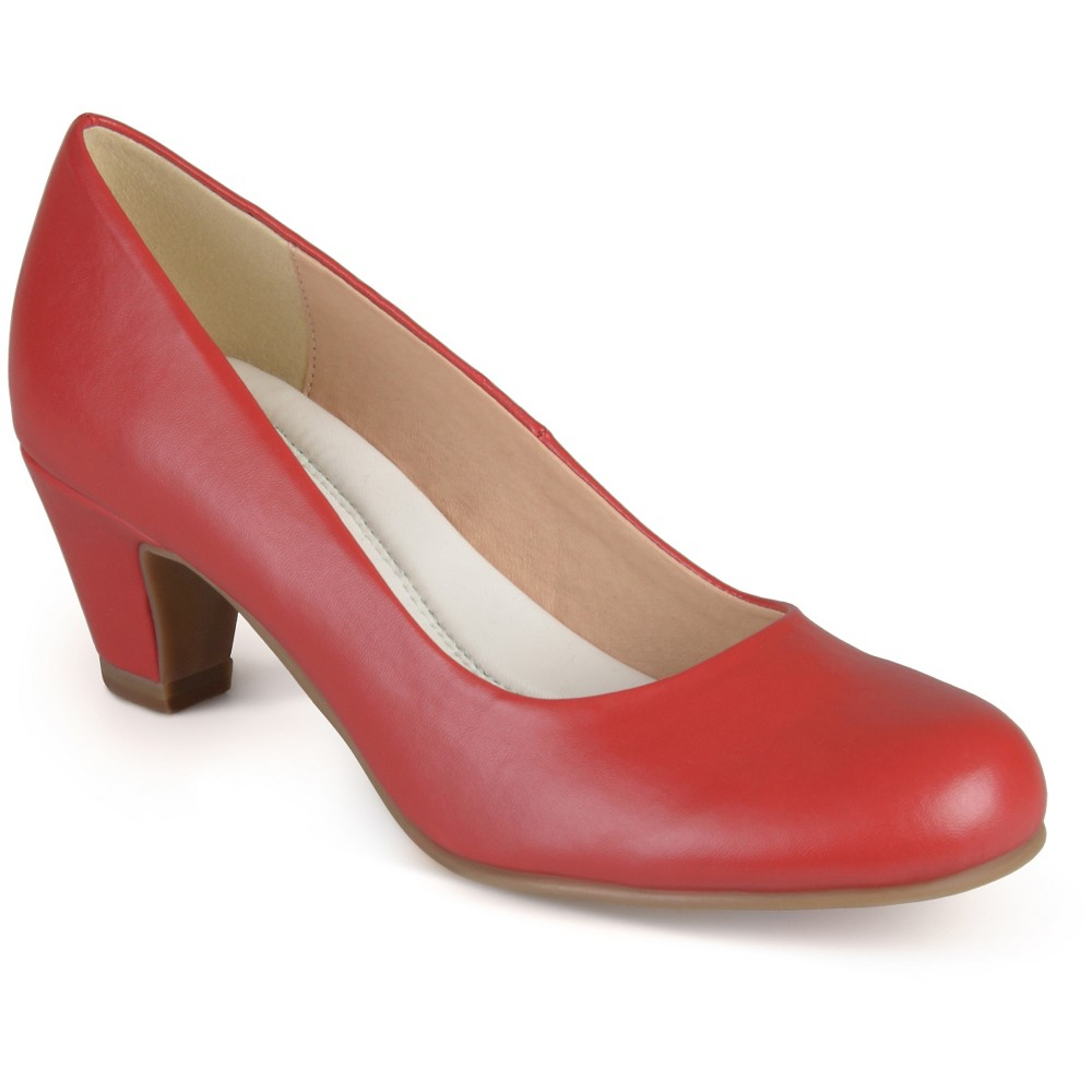 Womens Journee Collection Round Toe Comfort Fit Classic Kitten Heel Pumps - Red 8