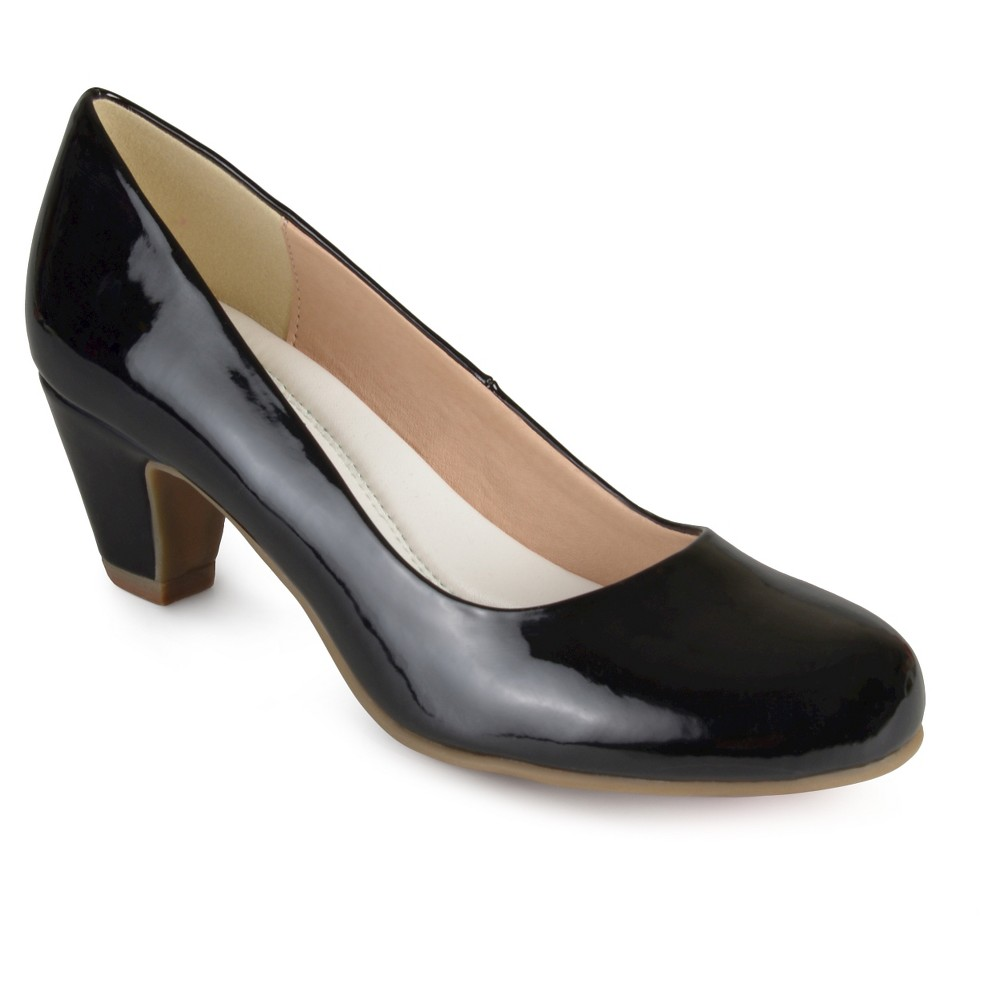 Womens Journee Collection Round Toe Comfort Fit Patent Classic Kitten Heel Pumps - Black 6
