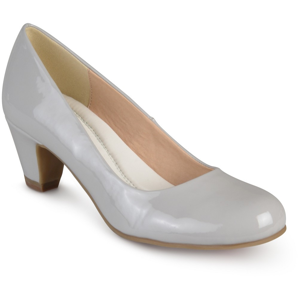 Womens Journee Collection Round Toe Comfort Fit Patent Classic Kitten Heel Pumps - Gray 6